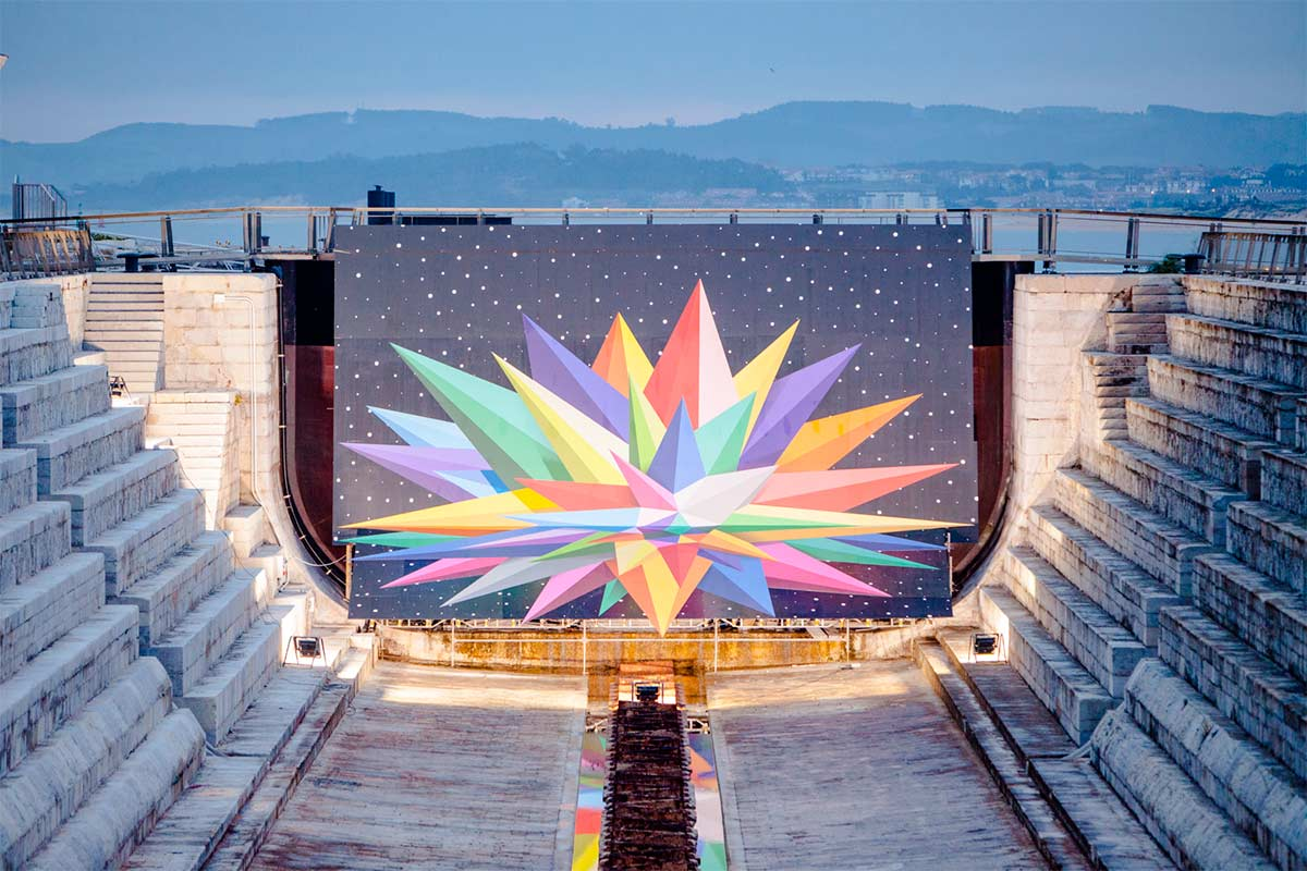 Outdoor intervention at Dique de Gamazo -- Okuda San Miguel -- Ink and Movement
