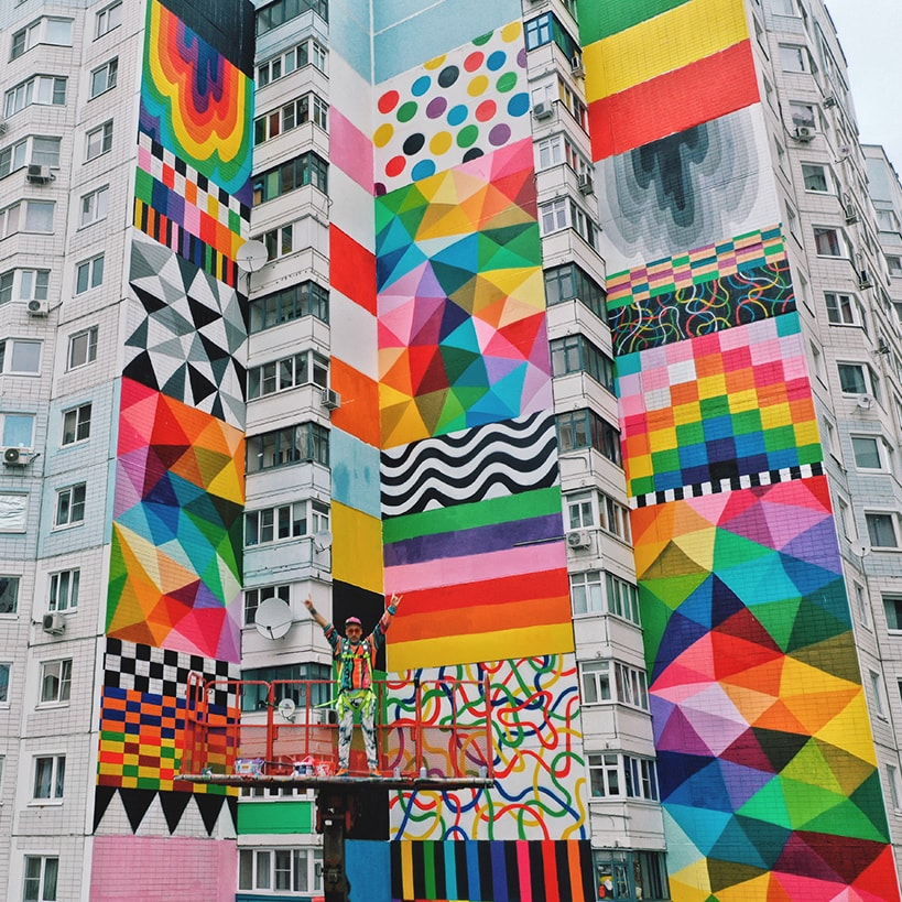 Okuda San Miguel - Flags of Freedom - Urban Morphogenesis - Ink and Movement